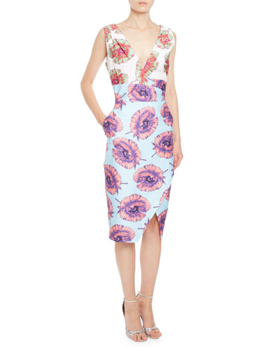Elida Floral Sleeveless Sheath Dress, Aquafish