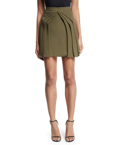 Layered Silk Mini Skirt, Olive