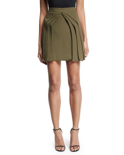 Layered Silk Mini Skirt, Olive