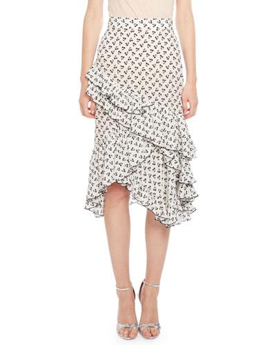 Tucson Cherry-Print Ruffled-Hem Skirt, White