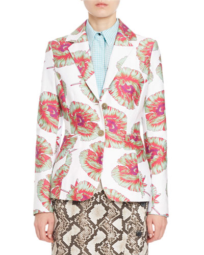 Fenice Floral Classic Blazer, White/Multi