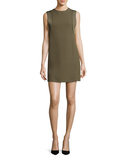 Piped-Trim Sleeveless Mini Dress, Olive