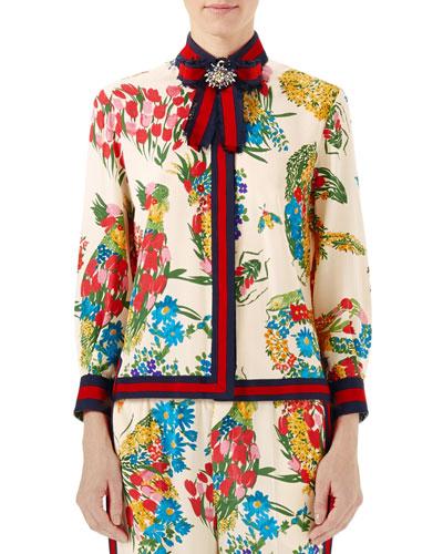 Corsage-Print Silk Shirt, Ivory