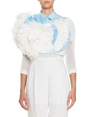 Floral-Fringe Off-the-Shoulder Sweater, White