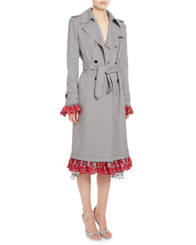 Mesquite Gingham Lace-Cuff Trenchcoat, Black/White