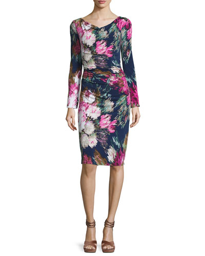 Long-Sleeve Floral Jersey Sheath Dress, Navy