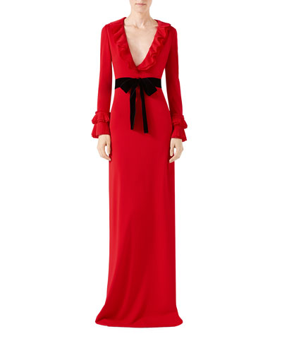 Viscose Jersey Gown with Ruffles, Red