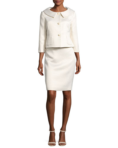 Jacquard Polka-Dot Jacket w/ Pencil Skirt, Cream