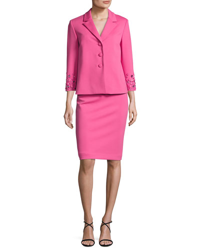 Embellished 3/4-Sleeve Jacket w/ Pencil Skirt, Pink