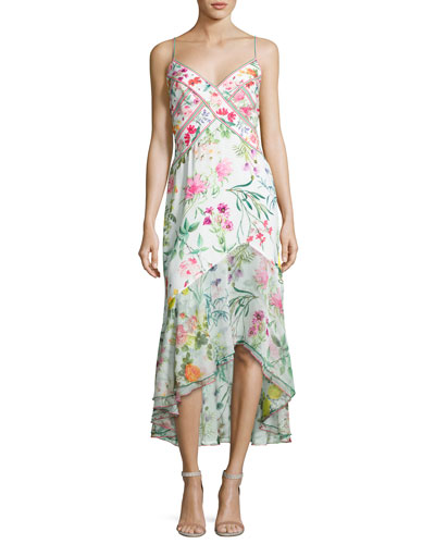 Sleeveless Floral Chiffon Midi Dress, White/Multicolor