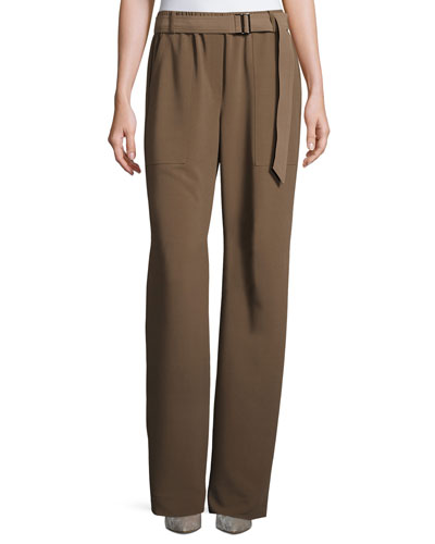 Belted Draped Suiting Pants, Taupe