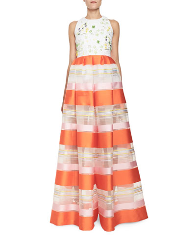 Striped Organza Sleeveless Jumpsuit, Orange Pattern