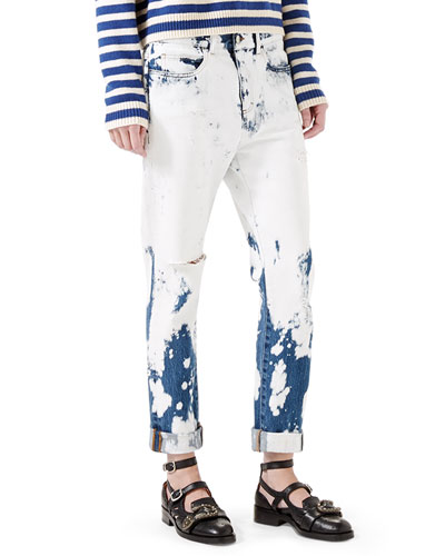 Hand-Bleached Denim Pants, White