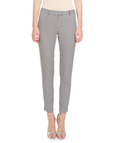 Henri Gingham Skinny Pants, Black/White