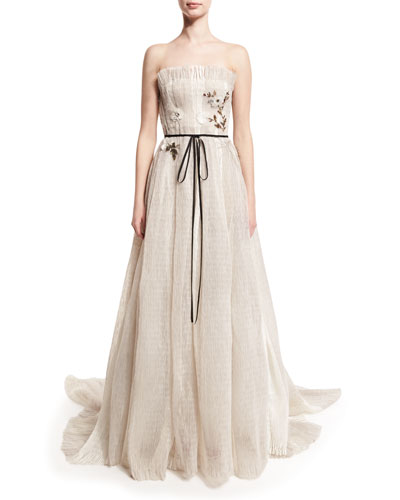 Seersucker Organza Strapless Gown, Silk White