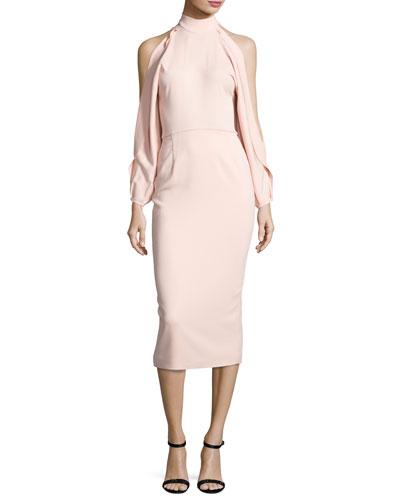 Bell-Sleeve Mock-Neck Sheath Dress, Shell