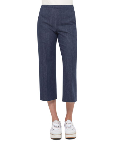 Denim Side-Zip Culotte Pants