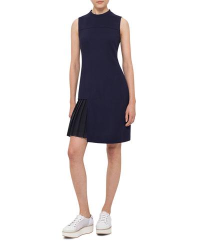 Pleated-Inset Sleeveless Mini Dress, Slate