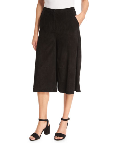 Suede Culotte Pants, Black