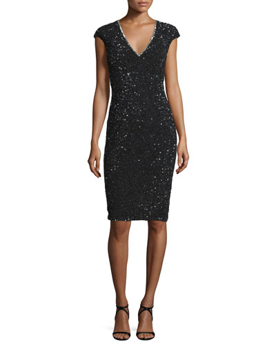 Fleur Cap-Sleeve Sequined Cocktail Sheath Dress, Black