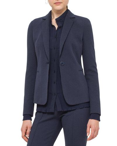 Waffle Jersey One-Button Blazer, Blue Denim/Black