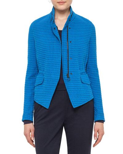 Stand-Collar Jacquard Jacket, Azure