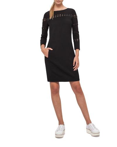 Lace-Inset Long-Sleeve Wool Dress, Black