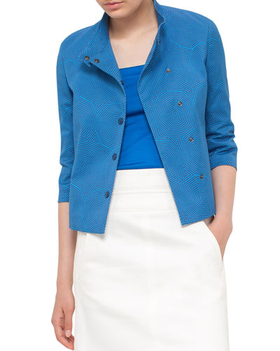 Sunshade-Print Short Jacket, Deep Azure