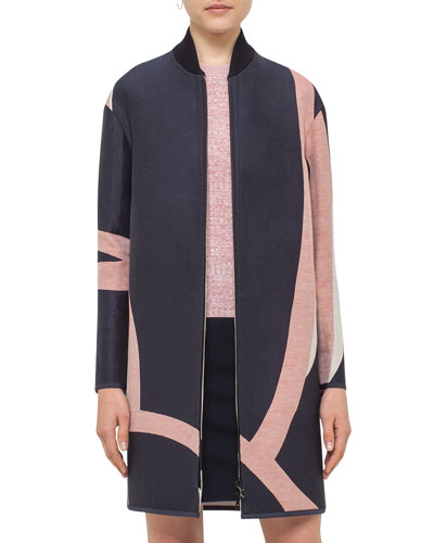 Reversible Jacquard Long Coat, Multi