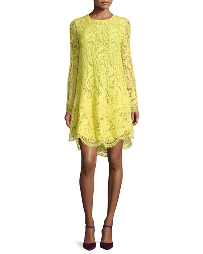 Long-Sleeve Trapeze Lace Dress, Citron