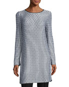 Long-Sleeve Printed Knit Tunic, Multi