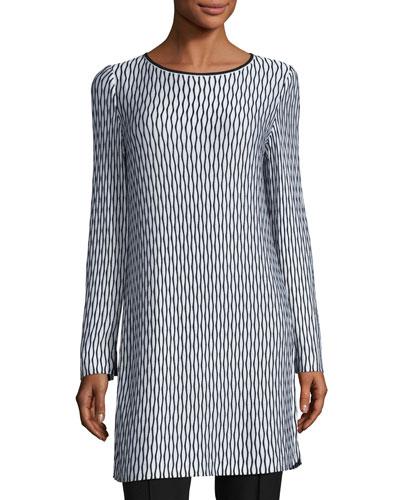 Long-Sleeve Printed Knit Tunic, Multi