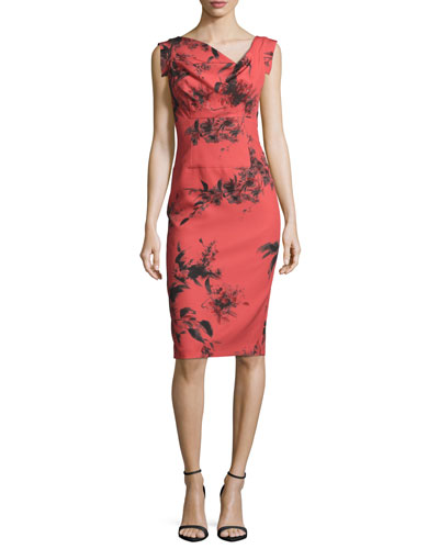 Sleeveless Floral Stretch Crepe Sheath Dress, Red