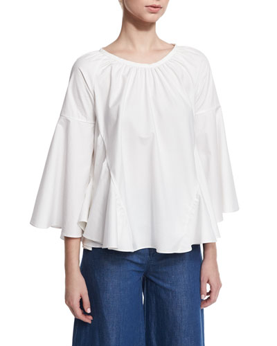 3/4-Sleeve A-Line Cotton Tunic, White