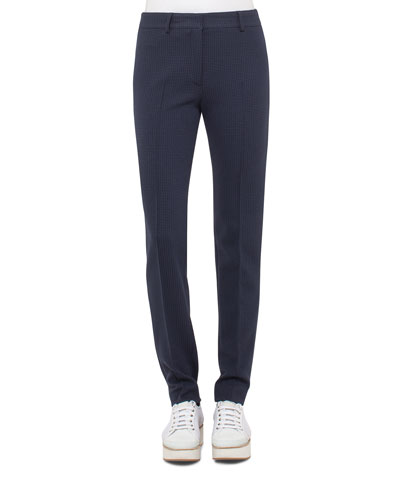 Fabiana Waffle Straight-Leg Pants, Blue Denim/Black