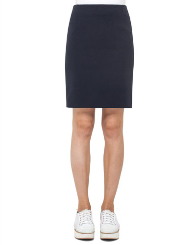 Waffle Jersey Pencil Skirt, Blue Denim/Black
