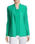 Lace-Sleeve Knit Jacket, Green