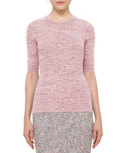 Half-Sleeve Knit Wool Sweater, Pink