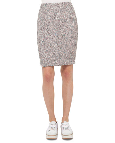 Tweed Pencil Skirt, Orange Pattern