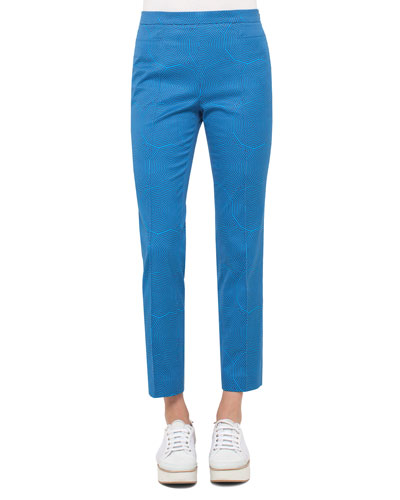 Franca Sunshade-Print Ankle Pants, Blue