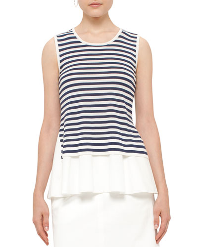 Striped Ruffled-Hem Sleeveless Top, Cream/Deep Navy