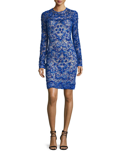 Long-Sleeve Floral-Appliqué Cocktail Dress, Royal Blue
