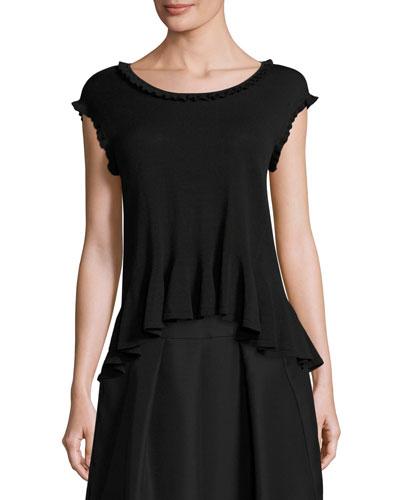 Sleeveless Flounce-Hem Sweater, Black