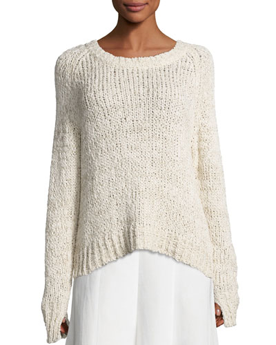 Raglan Crochet Tunic Sweater, Ivory