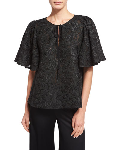 Corded-Lace Flutter-Sleeve Tunic, Black