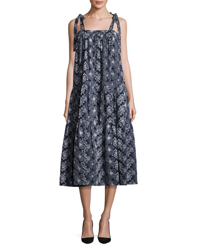 Floral Tie-Strap Tiered Midi Dress, Navy