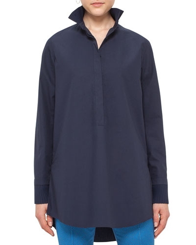 Pleated-Trim Cotton Tunic, Slate