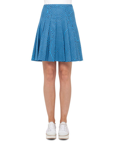 Swirl Jacquard Pleated Skirt, Light Blue