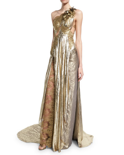 One-Shoulder Grecian Gown w/ Floral Appliqué, Gold