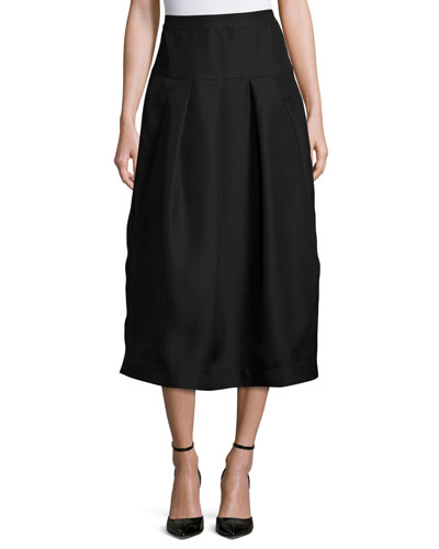 Pleated High-Waist Midi Skirt, Black